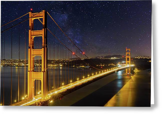 Golden Gate Bridge Under The Starry Night Sky Greeting Card by David Gn