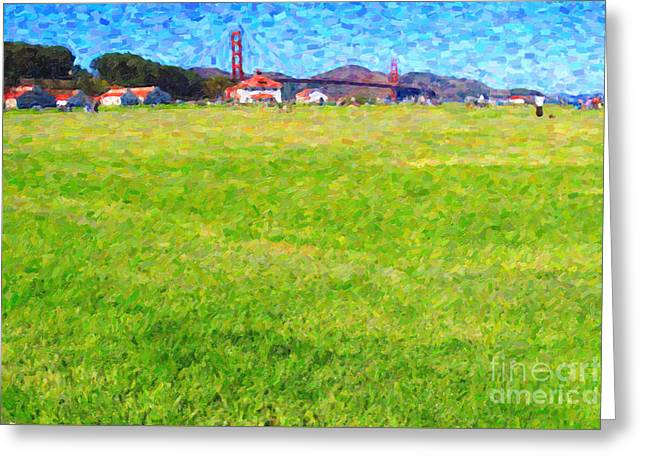 Golden Gate Bridge Viewed From Crissy Fields Greeting Card by Wingsdomain Art and Photography