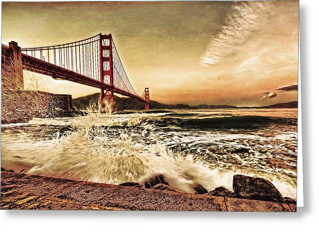 Greeting Card featuring the photograph Golden Gate Bridge Waves by Steve Siri