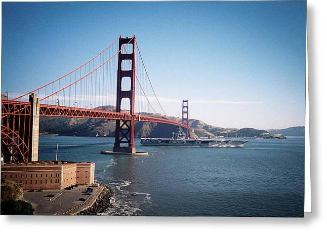 Golden Gate Bridge With Aircraft Carrier Greeting Card