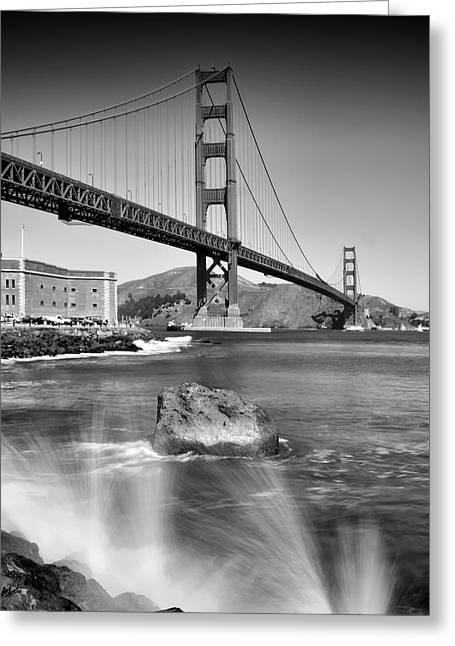 Golden Gate Bridge With Breakers Greeting Card by Melanie Viola