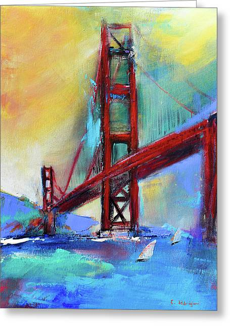 Greeting Card featuring the painting Golden Gate Colors by Elise Palmigiani