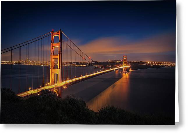 Golden Gate Greeting Card by Edgars Erglis