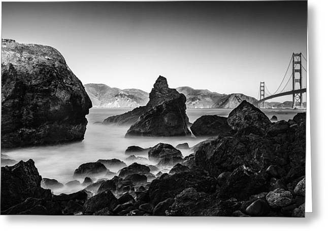 Golden Gate In Black And White Greeting Card