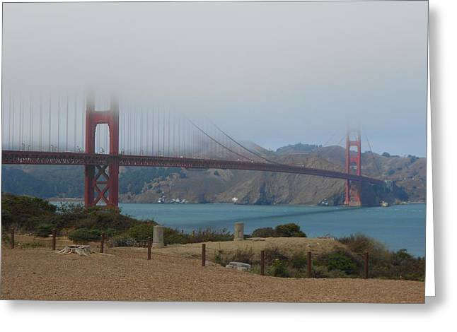 Golden Gate In The Clouds Greeting Card