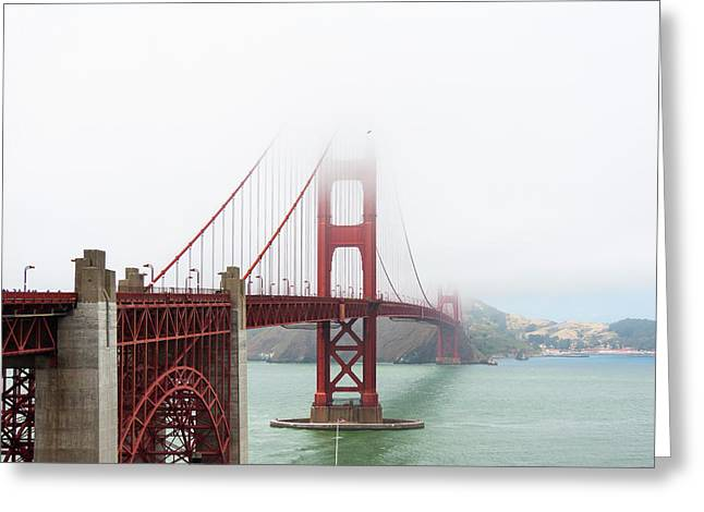 Golden Gate In The Fog Greeting Card