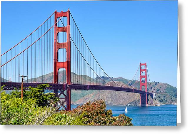 Golden Gate Greeting Card by Lutz Baar