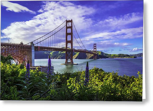 Golden Gate Of Spring Greeting Card by Phil Fitzgerald