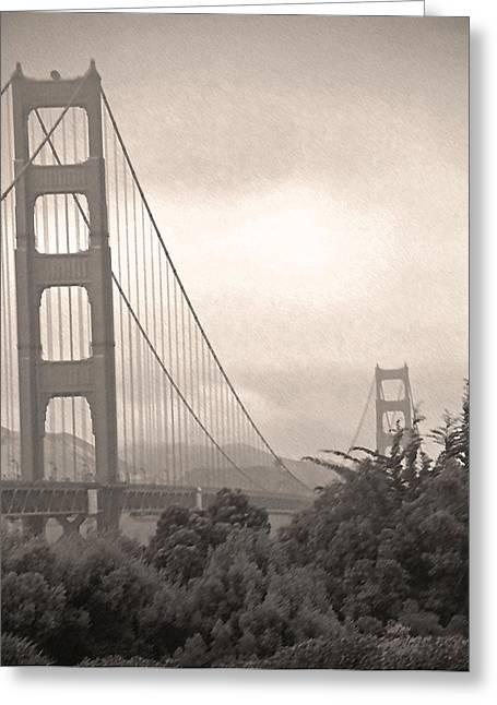 Golden Gate Sepia Greeting Card by Steve Ohlsen