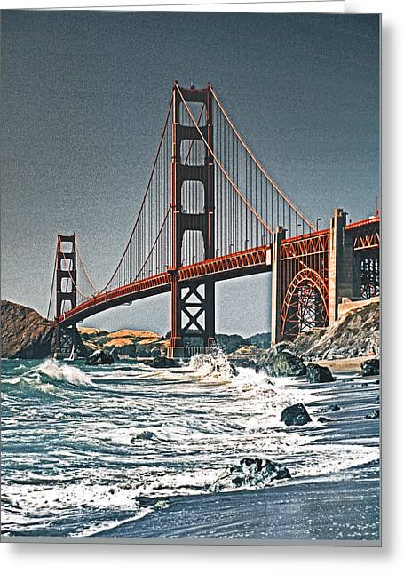 Golden Gate Surf Greeting Card by Dennis Cox WorldViews