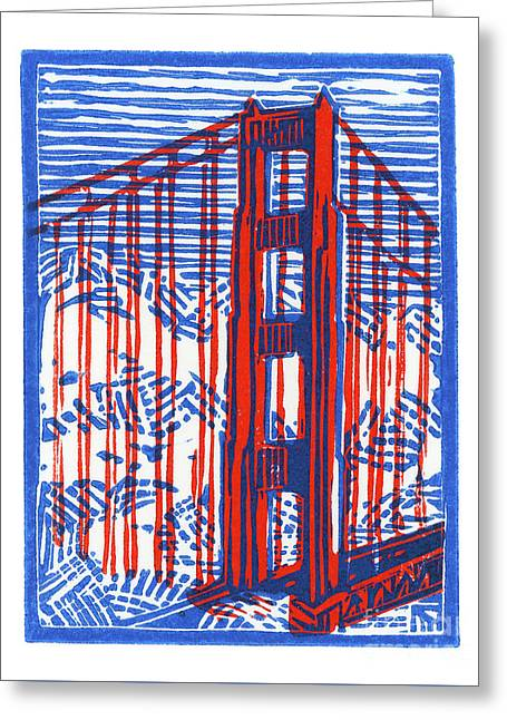 Golden Gate North Tower Greeting Card by Tom Taneyhill