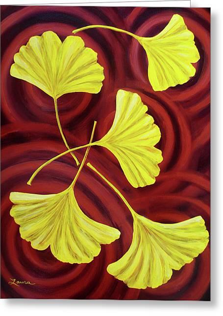 Burgundy Greeting Cards - Golden Ginkgo Leaves on Burgundy Greeting Card by Laura Iverson