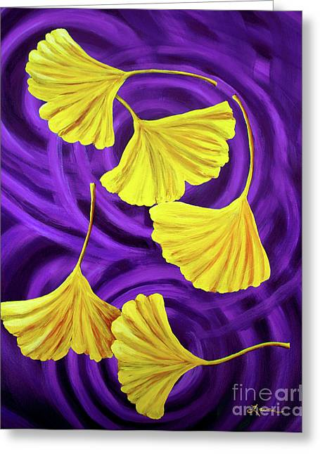 Autumn Landscape Paintings Greeting Cards - Golden Ginkgo Leaves on Purple Greeting Card by Laura Iverson