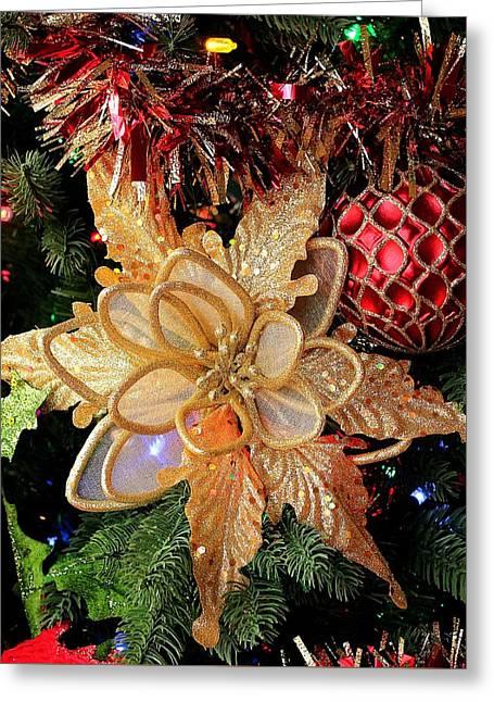 Golden Glitter Christmas Ornaments Greeting Card