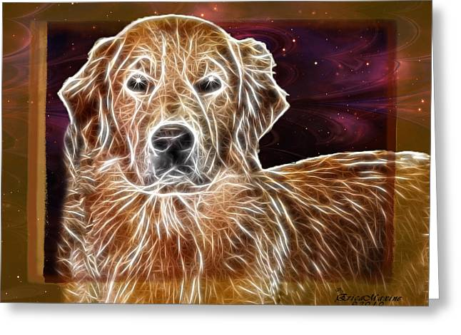 Greeting Card featuring the photograph Golden Glowing Retriever by EricaMaxine  Price