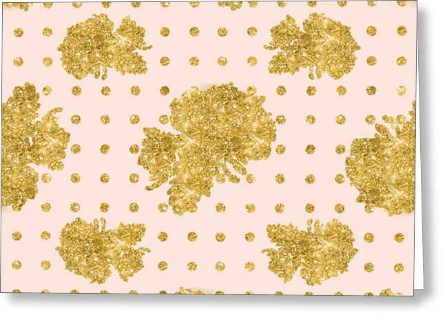 Golden Gold Blush Pink Floral Rose Cluster W Dot Bedding Home Decor Greeting Card by Audrey Jeanne Roberts
