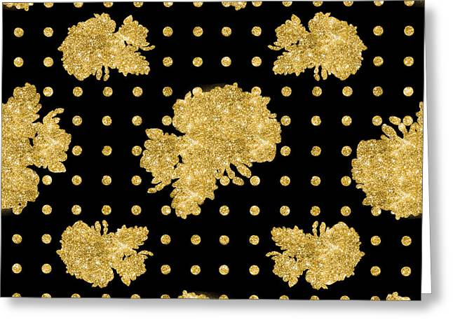 Golden Gold Floral Rose Cluster W Dot Bedding Home Decor Art Greeting Card by Audrey Jeanne Roberts