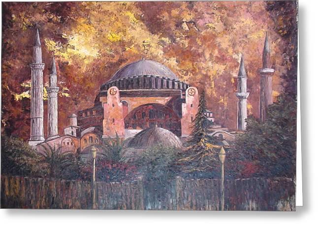 Golden Hagia Sofia Greeting Card by Charalampos Laskaris