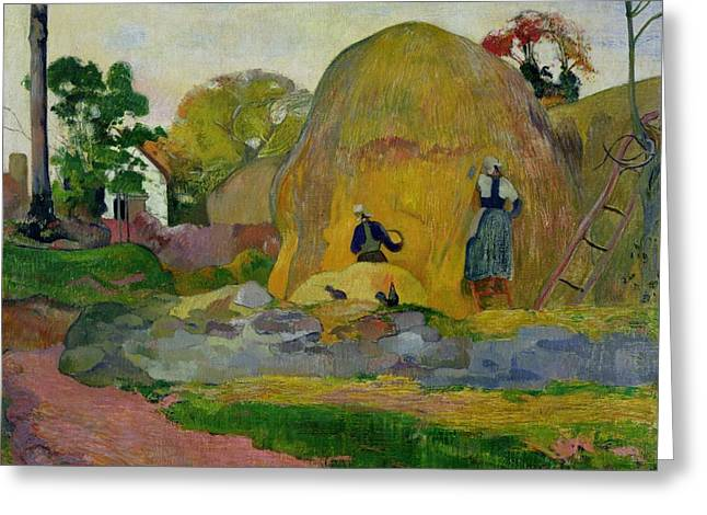 Golden Harvest Greeting Card by Paul Gauguin