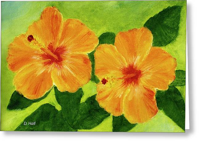 Golden Hawaii Hibiscus Flower #25 Greeting Card by Donald k Hall
