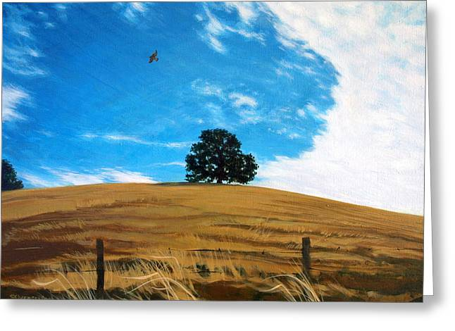 Golden Hills Summer Sky Greeting Card by Jill Iversen