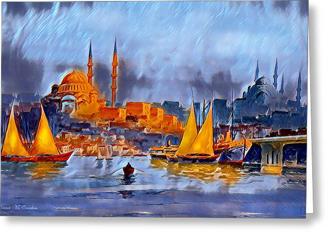 Greeting Card featuring the digital art Golden Horn Of Istanbul by Pennie McCracken