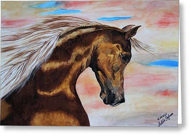 Golden Horse Greeting Card by Melita Safran