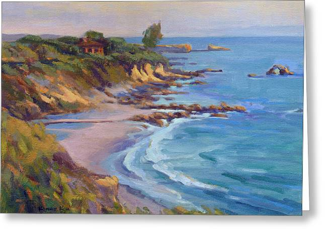 Greeting Card featuring the painting Golden Hour At Corona Del Mar by Konnie Kim