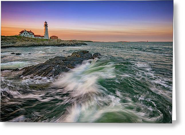 Greeting Card featuring the photograph Golden Hour At Portland Head Light by Rick Berk