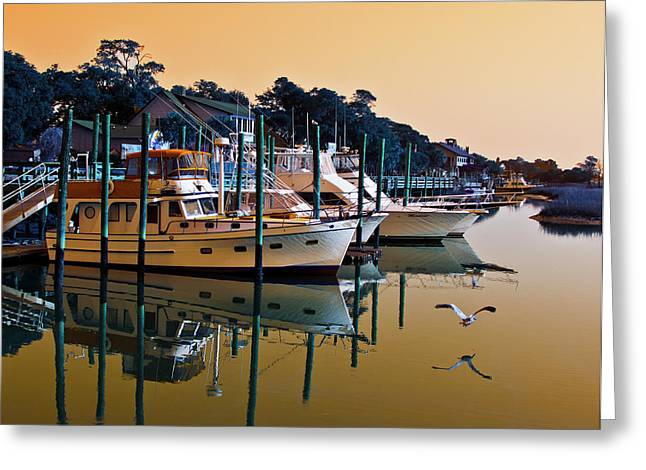Golden Hour At The Marshwalk Greeting Card by Bill Barber