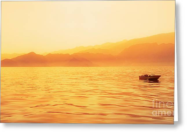 Golden Hour Capture Of Indian Ocean Shore Greeting Card by Mikhail Golovastikov