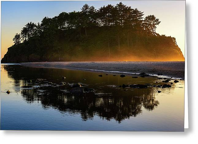 Greeting Card featuring the photograph Golden Hour Haze At Proposal Rock by John Hight