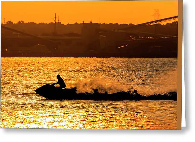 Golden Hour Jet Ski Silhouette Greeting Card