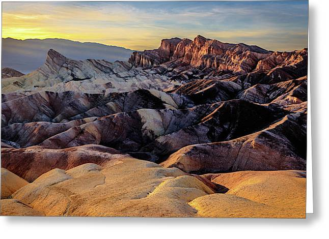 Greeting Card featuring the photograph Golden Hour Light On Zabriskie Point by John Hight