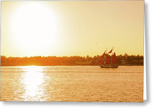 Golden Hour Sailing Ship Greeting Card
