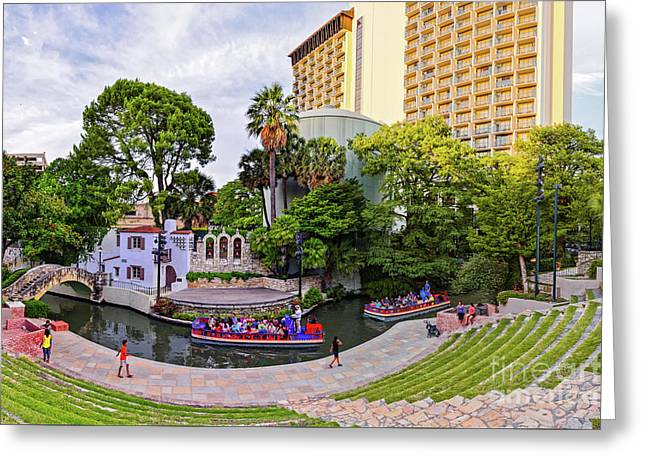 Golden Hour Shot Of Arneson River Theatre At La Villita San Antonio Riverwalk - Bexar County Texas Greeting Card