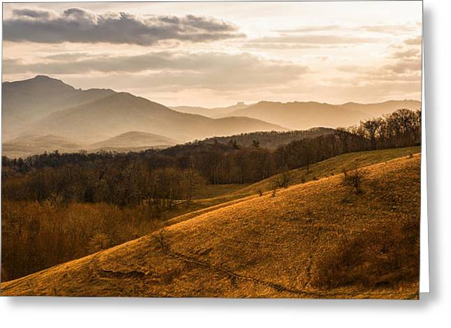 Grandfather Mountain Sunset - Moses Cone Blue Ridge Parkway Greeting Card