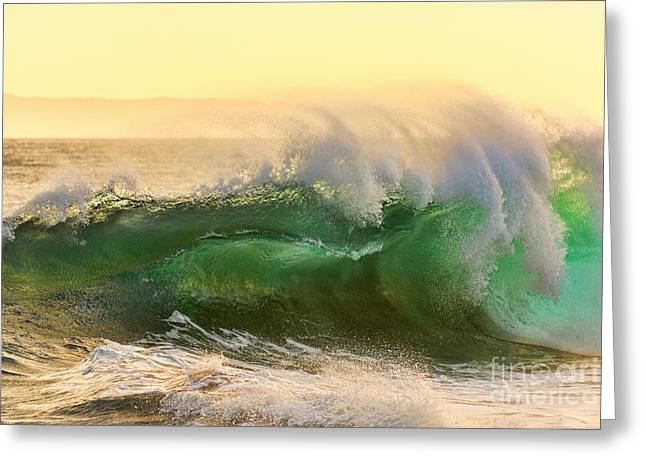 Greeting Card featuring the photograph Golden Hour Waves by Eddie Yerkish