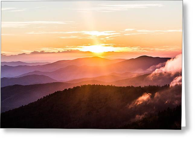 Golden Hues On The Mountain Greeting Card by Shelby Young