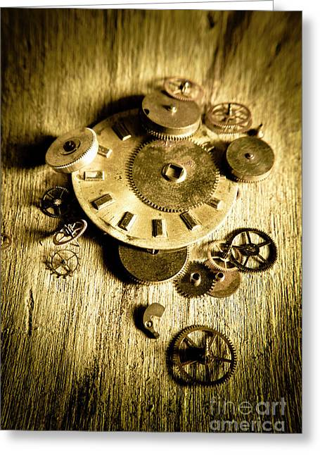 Golden Industry Gears  Greeting Card by Jorgo Photography - Wall Art Gallery