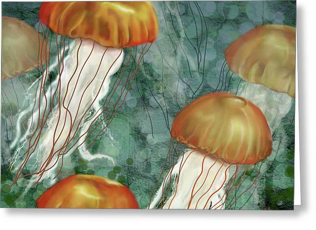 Golden Jellyfish In Green Sea Greeting Card