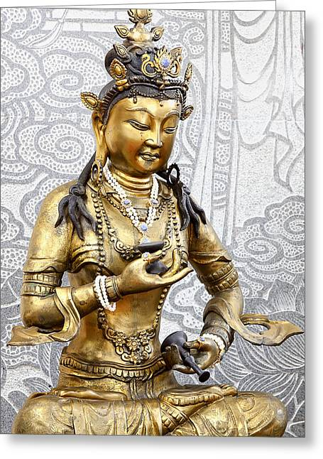 Kuan Greeting Cards - Golden Kuan Yin Greeting Card by Anek Suwannaphoom
