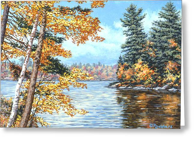 Golden Lake Greeting Card by Richard De Wolfe