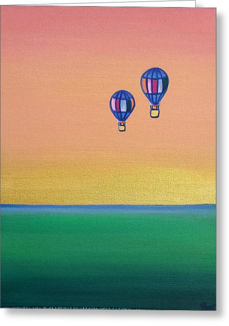 Golden Landscape And Balloons Greeting Card by Beryllium Canvas