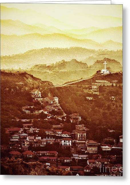 Golden Landscape By Raphael Terra Greeting Card