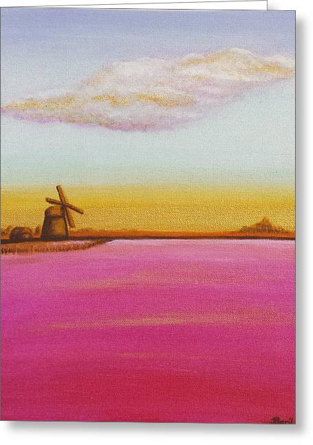 Golden Landscape With Windmill Greeting Card by Beryllium Canvas