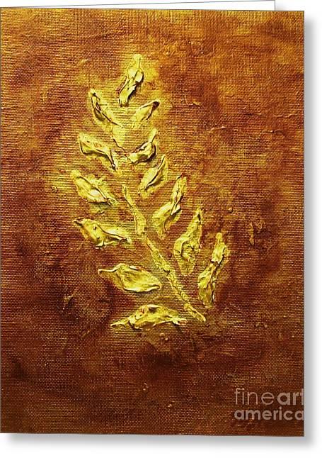 Golden Leaf Greeting Card by Marsha Heiken