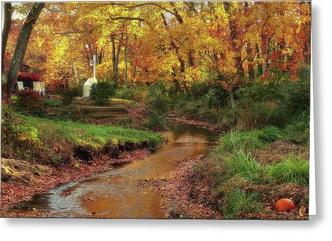 Golden Leaves Of Autumn Greeting Card by Mikki Cucuzzo