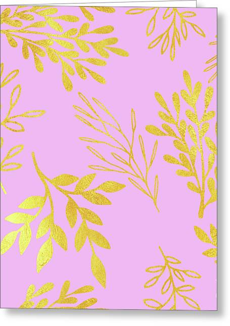 Golden Leaves On Pale Lilac Botanical Pattern Greeting Card by Tina Lavoie