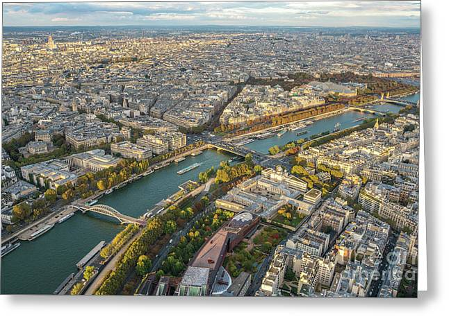 Golden Light Along The Seine Greeting Card by Mike Reid